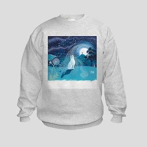 Moon Gazing Hare Kids Sweatshirt