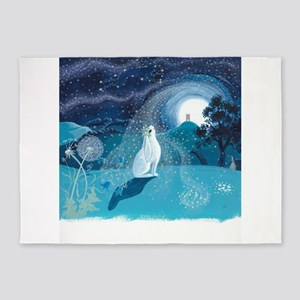 Moon Gazing Hare 5'x7'Area Rug