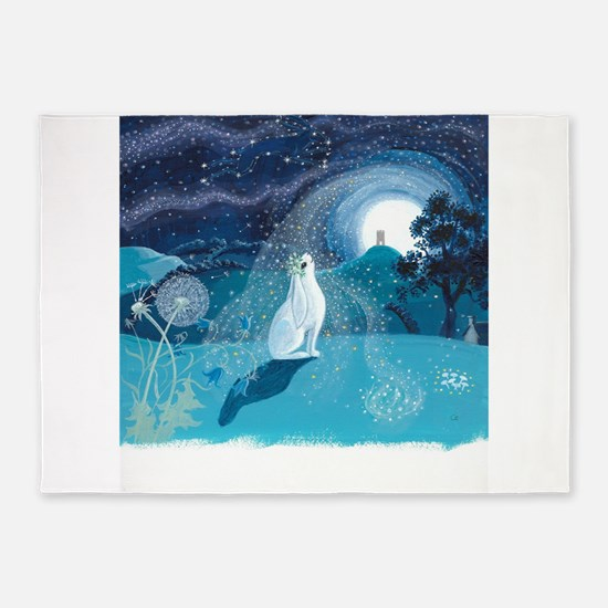 Moon Gazing Hare 5'x7'Area Rug