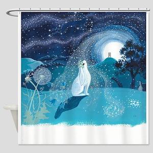 Moon Gazing Hare Shower Curtain