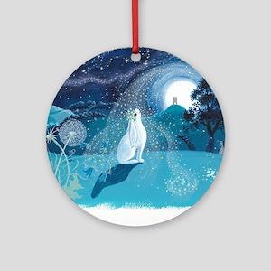 Moon Gazing Hare Round Ornament