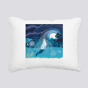 Moon Gazing Hare Rectangular Canvas Pillow