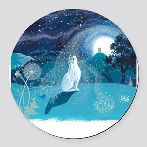 Moon Gazing Hare Round Car Magnet
