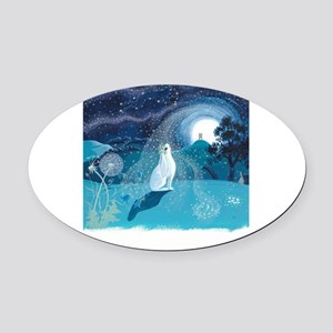 Moon Gazing Hare Oval Car Magnet