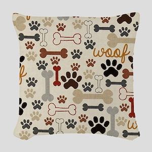 Dog Bones And Paw Prints Tan Woven Throw Pillow