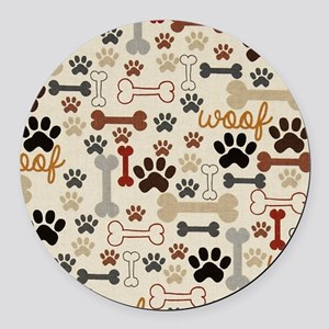 Dog Paws And Bones Round Car Magnet