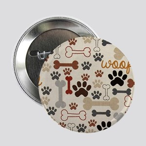 "Dog Bones And Paw Prints 2.25"" Button"
