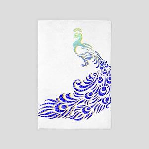 Aqua Blue Peacock 4' X 6' Rug