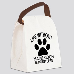 Life Without Maine Coon Cat Desig Canvas Lunch Bag