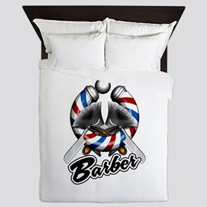 Barber Pole With Straight Razors Queen Duvet