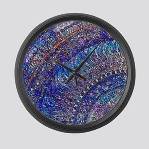 Midnight Jewel Mandala Large Wall Clock