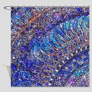 Midnight Jewel Mandala Shower Curtain