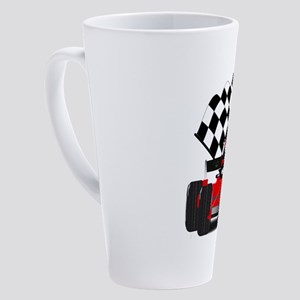 Red Race Car with Checkered Flag 17 oz Latte Mug