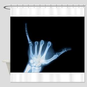 Shaka Hand Sign X-ray ALOHA Shower Curtain