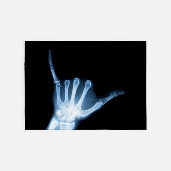 Shaka Hand Sign X-ray ALOHA 5'x7'Area Rug