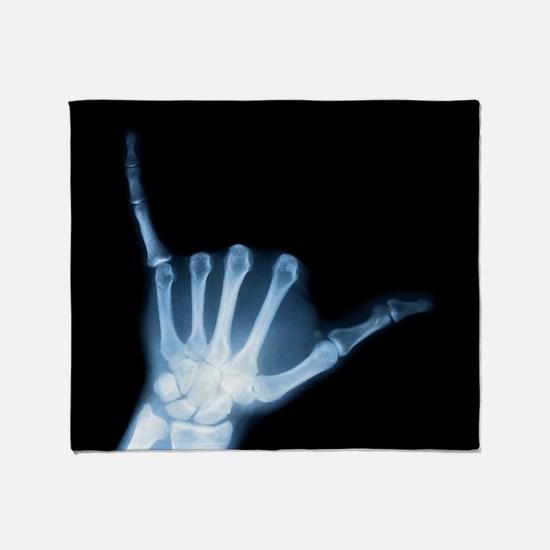 Shaka Hand Sign X-ray ALOHA Throw Blanket