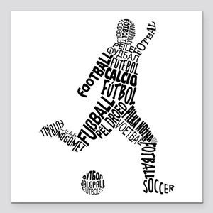 """Soccer Football Languages Square Car Magnet 3"""" x 3"""