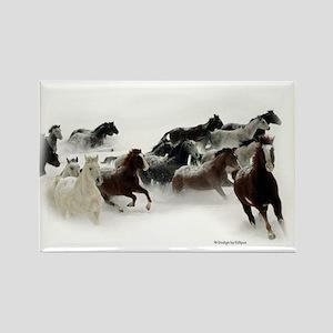 Running Horses Rectangle Magnet