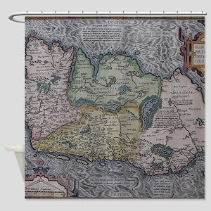 Vintage Map of Ireland (1592) Shower Curtain