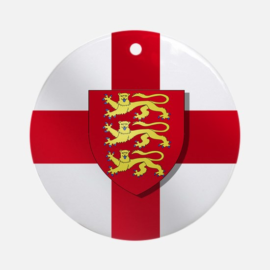 England Three Lions Flag Round Ornament