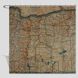 Vintage Map of Oregon (1921) Shower Curtain