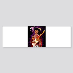 Skull guitar player with rose Bumper Sticker