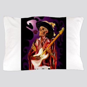 Skull guitar player with rose Pillow Case