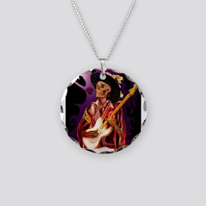 Skull guitar player with ros Necklace Circle Charm