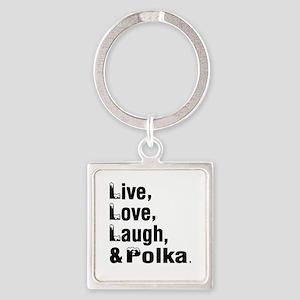Live Love Polka Dance Designs Square Keychain