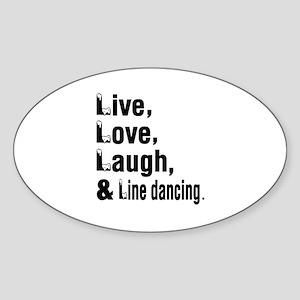 Live Love Line Dance Designs Sticker (Oval)