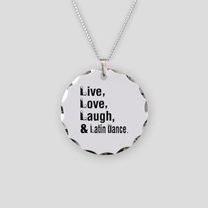Live Love Latin Dance Design Necklace Circle Charm