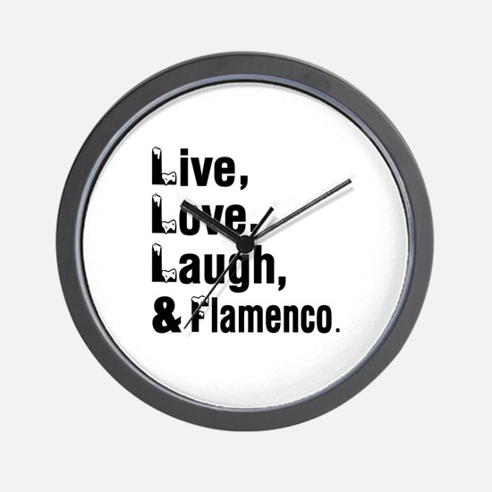 Live Love Flamenco Dance Designs Wall Clock