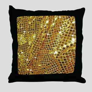 Gold Sparkling Sequin Glitter Throw Pillow