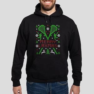Merry LAXmas Lacrosse Ugly Christmas Hoodie (dark)