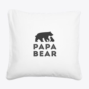 Papa Bear Square Canvas Pillow