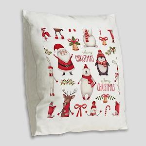 Merry Christmas Pattern Burlap Throw Pillow