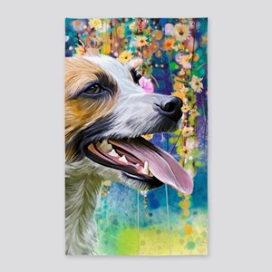 Jack Russell Terrier Painting Area Rug