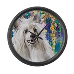 Chinese Crested Painting Large Wall Clock