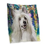 Chinese Crested Painting Burlap Throw Pillow