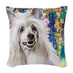 Chinese Crested Painting Woven Throw Pillow