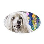 Chinese Crested Painting Oval Car Magnet