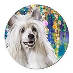 Chinese Crested Painting Round Car Magnet