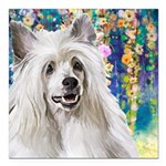 Chinese Crested Painting Square Car Magnet 3