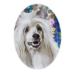 Chinese Crested Painting Oval Ornament