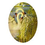 SWANS, Vintage art Print Oval Ornament