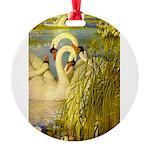 SWANS, Vintage art Print Round Ornament