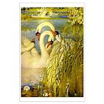 SWANS, Vintage art Print Poster