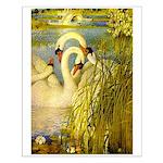 SWANS, Vintage art Print Small Poster