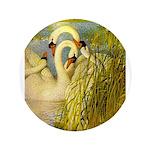 SWANS, Vintage art Print Button