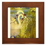 SWANS, Vintage art Print Framed Tile